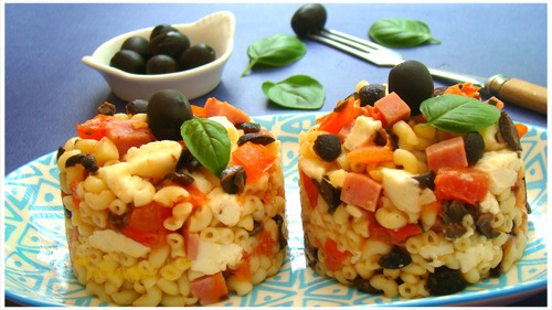 "TIMBALE DE COQUILLETTES AU BASILIC,""Weight Watchers"""
