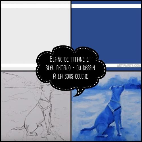 Dessin et peinture - vidéo 3364 : Comment peindre un chien à partir d'un fond bleu phtalo ? - huile,acrylique.Chien en bleu