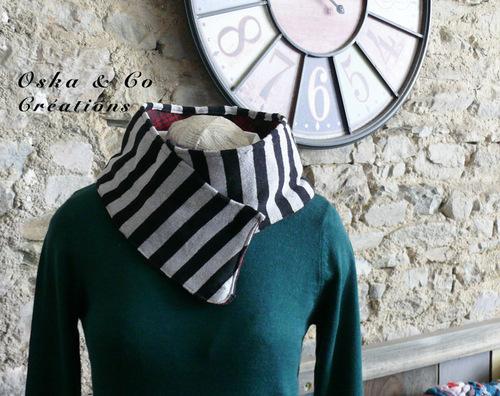 DIY Couture, col d'hiver réversible en tissu recyclé