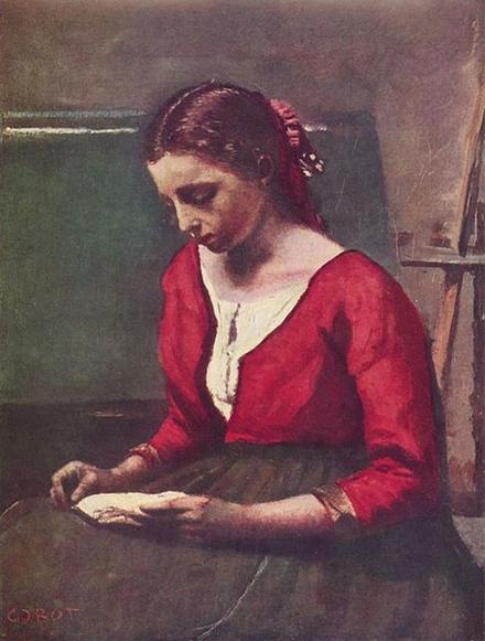 jeune fille lisant - 1848 - 43x33cm