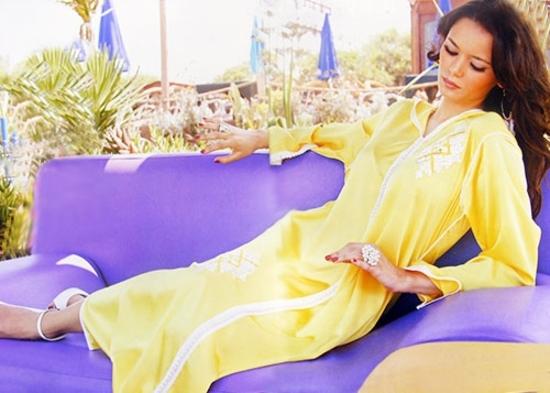Djellaba 2015-couleur-jaune-en ligne et pas cher pour soiree marocaine DJ-S886