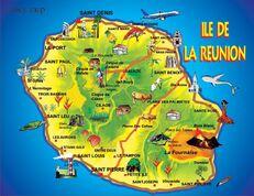 La carte de l île de la réunion