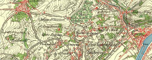 Mons - Bois de Mont - Jemeppe (Carte du dépôt de la guerre (1865 - 1880)