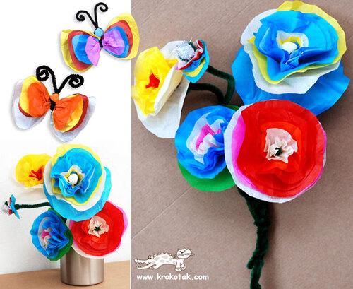 Papillons et fleurs en crépon