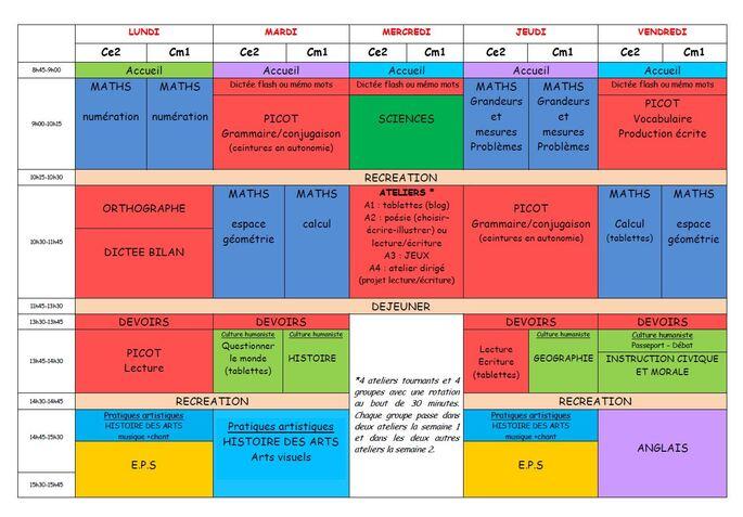 Emploi du temps CE2 CM1 pour la rentrée 2016-2017