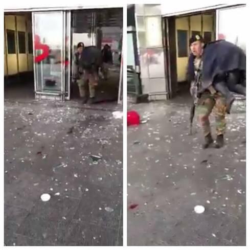 Respect à ce militaire qui évacue un blessé à l'aéroport de Zaventem