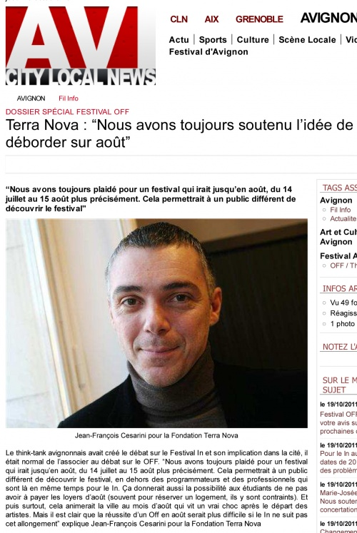 Article Avignews 20 Octobre 2011