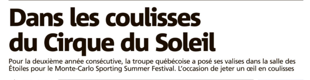 Le cirque du Soleil est de retour sur Monaco