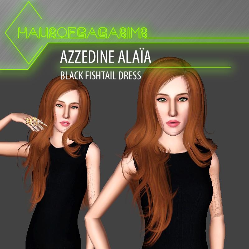 AZZEDINE ALAÏA BLACK FISHTAIL DRESS