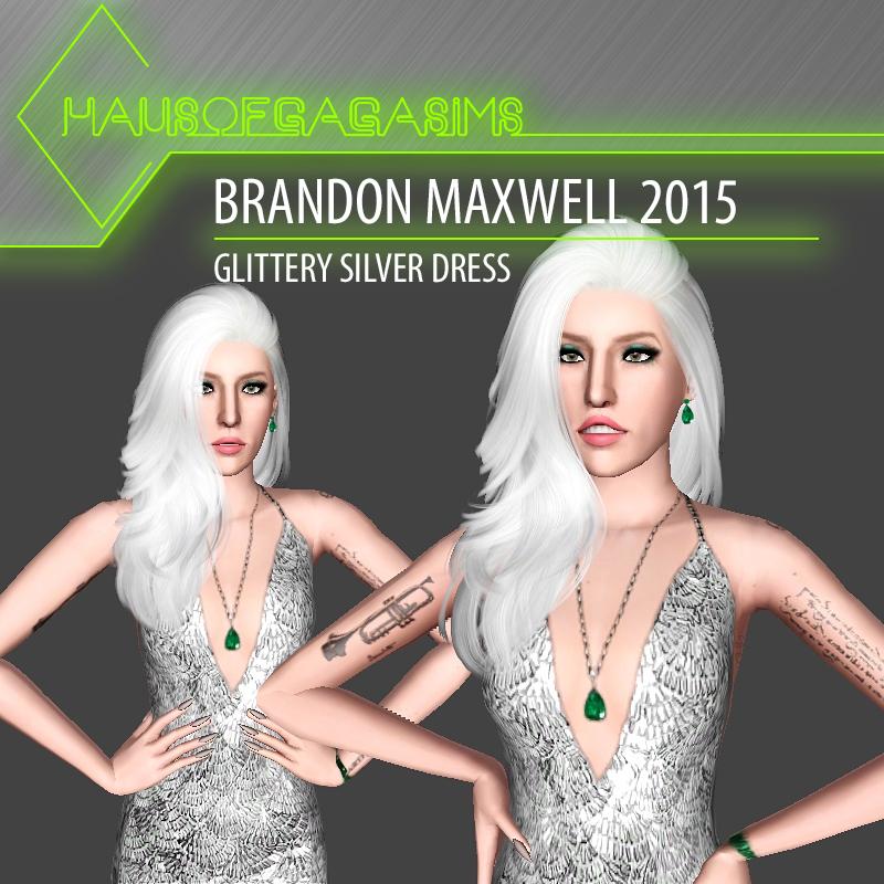 BRANDON MAXWELL 2015 GLITTERY SILVER DRESS