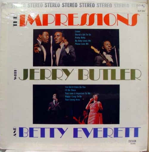 "1965 : Album "" The Impressions With Jerry Butler & Betty Everett "" Design Records DLP 201 [ US ]"