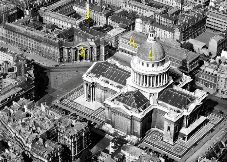 Vue aérienne en 1958 du Panthéon (1), de la Faculté de Droit (2), du Lycée Louis le Grand (3) et de la Bibliothèque Sainte-Geneviève (4).