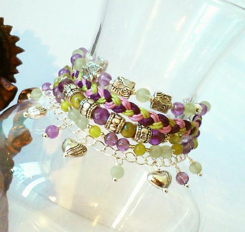 Bracelet Gipsy multi-rangs Violet / Vert - Pierre d'Améthyste, Jade, Coquillage et Serpentine / Plaqué Argent