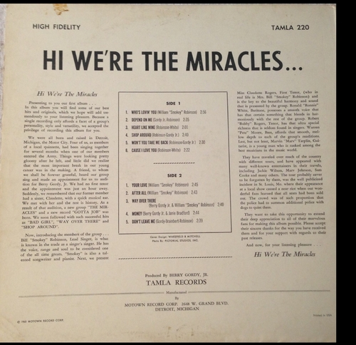 "The Miracles : Album "" Hi We're The Miracles "" Tamla Records TM 220 [ US ]"