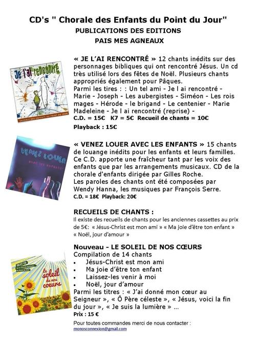 """CD's"""" Chorale des Enfants du Point du Jour"""""""