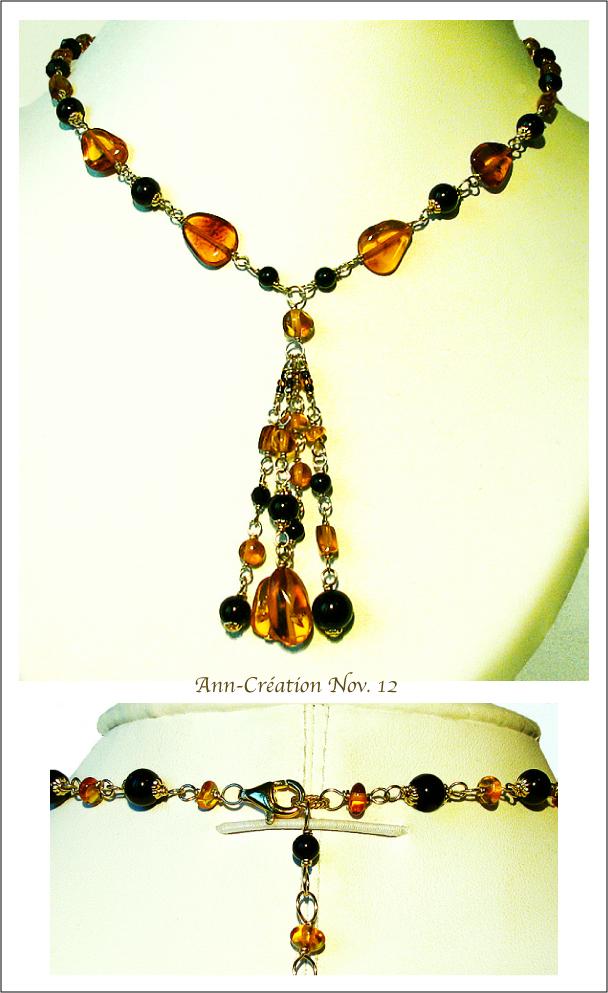 Collier Grappe Ambre de la Baltique & Onyx Noir / Plaqué Or 14kt Gold Filled