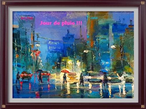 Dessin et peinture - vidéo 2718 : Comment peindre un temps pluvieux 2 ? Acrylique ou huile .