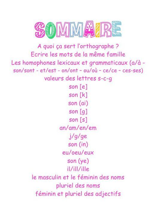 Leçons orthographe CE2