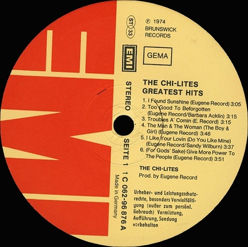 "The Chi-Lites ‎: Album "" Greatest Hits "" EMI Electrola Records 1C 062-98 876 [ GE ]"