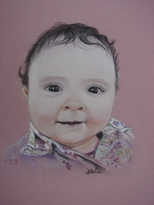 Et encore un portrait au pastel, la petite fille en rose...