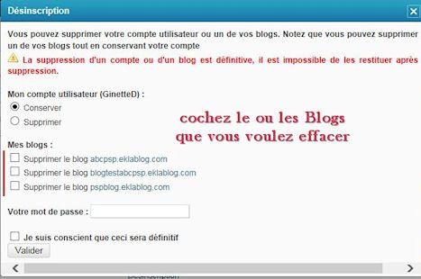 Supprimer ou renommer un Blog