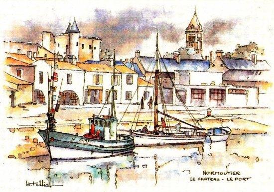 Le port de Noirmoutier. Aquarelle de B. Tessier