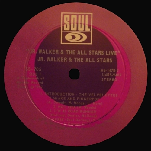 Jr. Walker & The All Stars : Album '' Live ! '' Soul Records SS 705 [ US ]