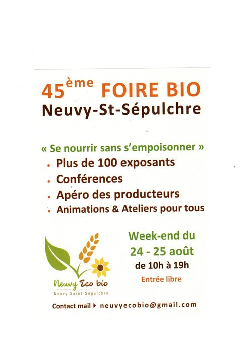 24 25 Août 2019 Foire Bio NEUVY SAINT SEPULCHRE (36)