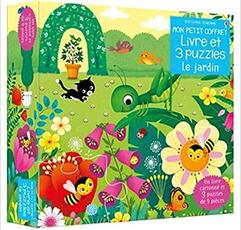 Mon petit coffret livre et 3 puzzles - Le jardin