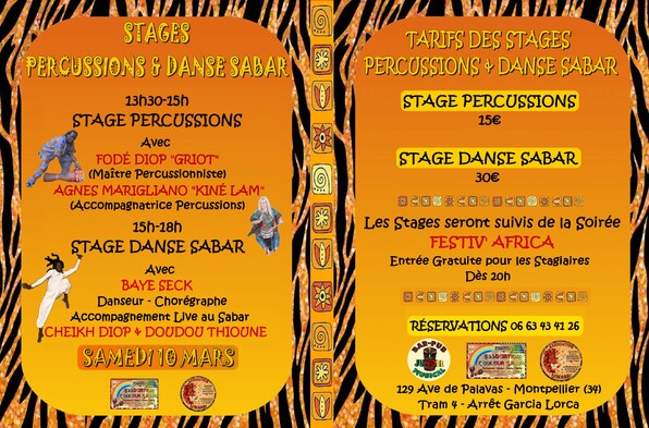 ★ Stages Danse Sabar Traditionnel & Moderne