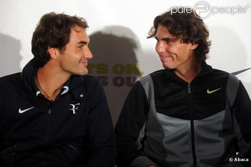 * Fous rires Federer/Nadal