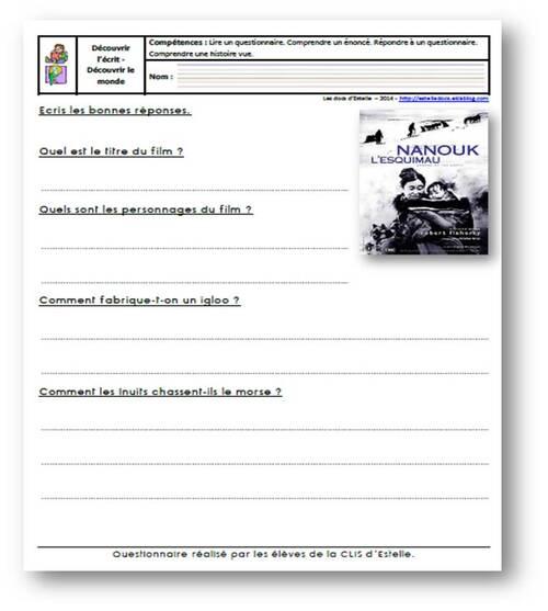 Nanouk l'esquimau - Questionnaire 1 niveau 1
