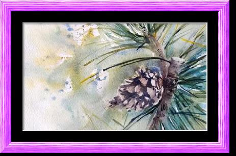 Dessin et peinture - vidéo 2607 : Comme peindre une pomme de pin ? - aquarelle.