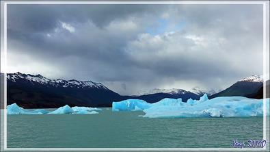 Approche du Glacier Upsala avec une eau parfois bleu lagon et rencontres de plus en plus fréquentes avec des icebergs bleu très profond - Lago Argentino - Patagonie - Argentine