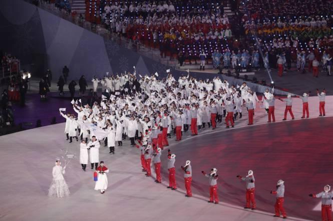 Défilé commun des athlètes de toute la Corée