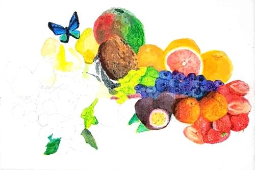 Fruits et papillon, pas à pas 5