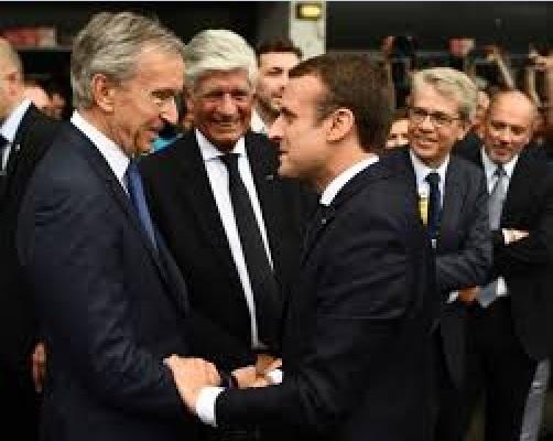 Macron avec Bernard Arnault , PDG de LVMH