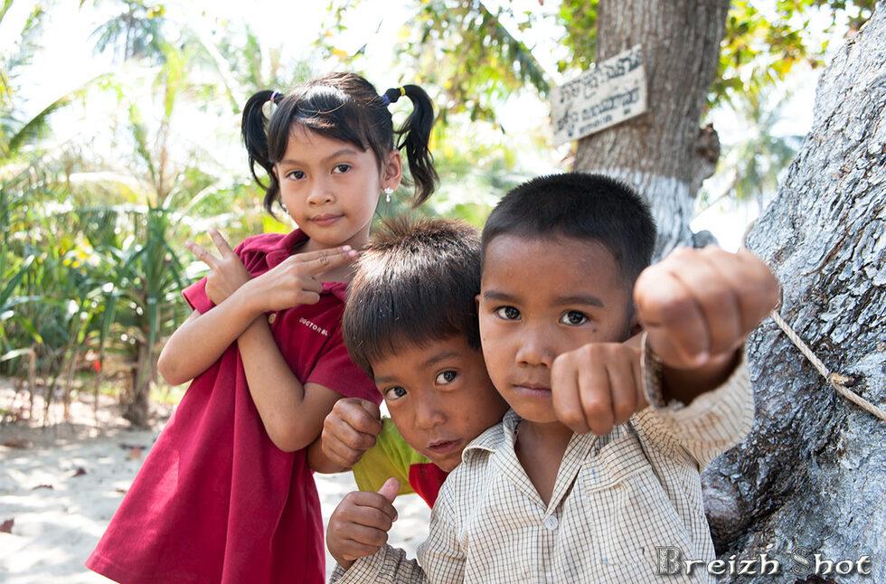 portrait, enfants, cambodge, kep