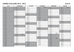 planning 2012/2013 zone A