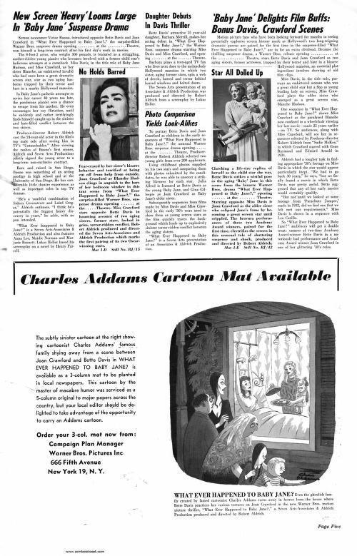 QU'EST-IL ARRIVE A BABY JANE (1962) PRESSBOOK