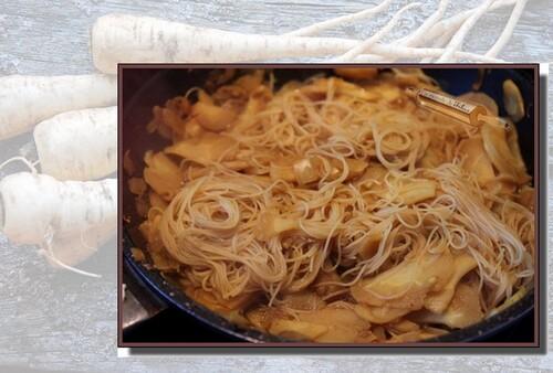 Panais et vermicelle de riz au curcuma