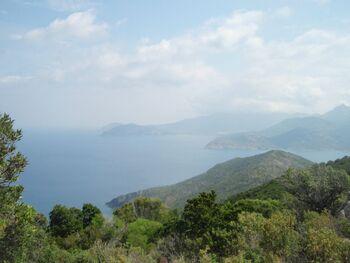 Vue vers le nord: Punta di Stollu devant le golfe, et Cappu di a Mursetta vers Calvi