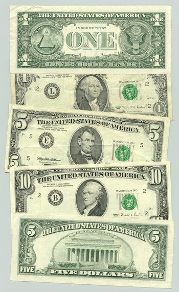 US-Dollar-USD-10-5-1-bills-Greenbacks-worn-front-and-back-ANON