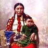 Stella Yellow Shirt and baby. Brule Lakota. 1899. Photo by Heyn Photo.
