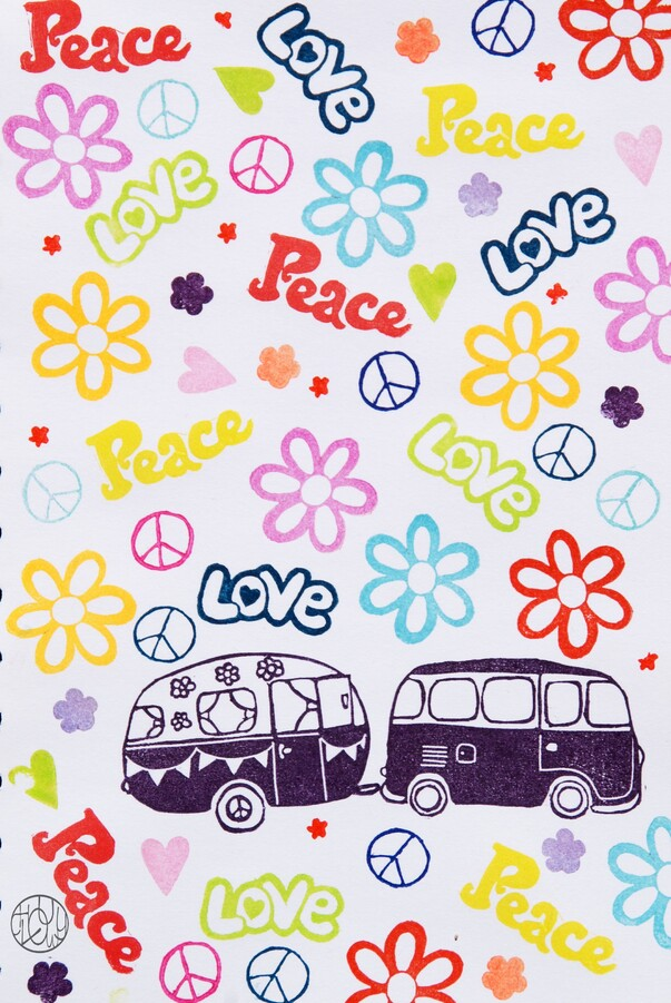 A stamp a week 15/52 - Peace and love, hippie !