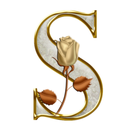 Golden letters with a rose