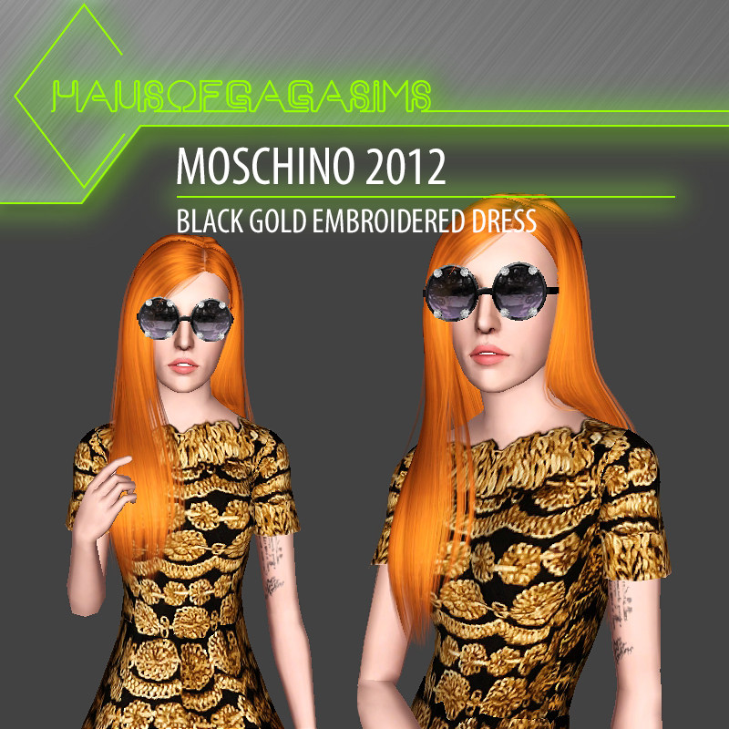 MOSCHINO 2012 BLACK GOLD EMBROIDERED DRESS