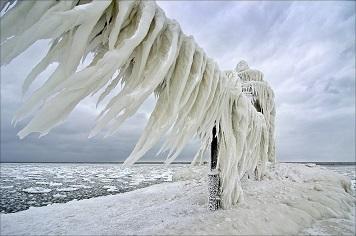 Les glaces du lac Michigan ...