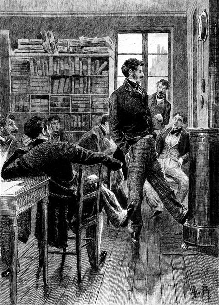 Les clercs de l'étude de maître Derville, avoué près le tribunal de Seine, dans le roman d'Honoré de Balzac « Le Colonel Chabert » (dessin d'Alcide Théophile Robaudi)