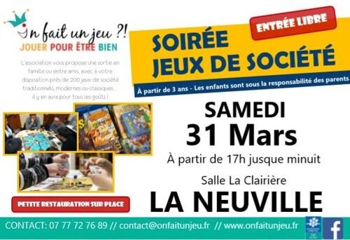 """Soirée """"jeux de société"""" à La Neuville le 31 mars 2018"""